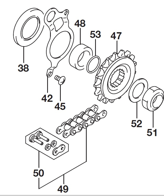 FRONT SPROCKET CHAIN GSXR-1000/A 2017-18