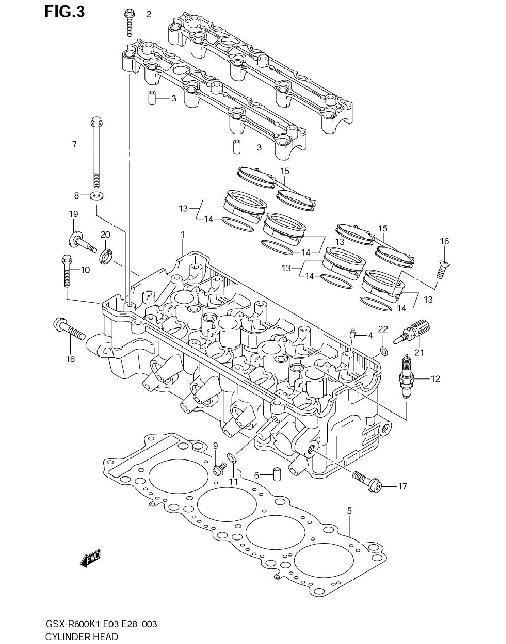 CYCLINDER HEAD PARTS GSXR...   Gsxr 750 Engine Diagram      Oneida Suzuki